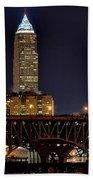 Cleveland Skyline At Night Bath Towel