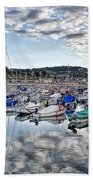 Cloudy Morning - Lyme Regis Harbour Bath Towel