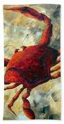 Coastal Crab Decorative Painting Original Art Coastal Luxe Crab By Madart Bath Towel