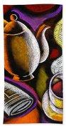 Coffee And News Hand Towel by Leon Zernitsky