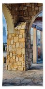 Cultured Stone Terrace Trellis Details Near Park In A City  Bath Towel