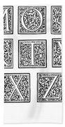Decorative Initials, C1600 Bath Towel