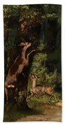 Deer In The Forest Bath Towel