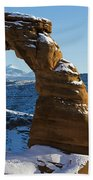Delicate Arch With Snow Arches National Park Utah Bath Towel