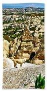 Dog Looking At Fairy Chimneys In Cappadocia-turkey Bath Towel