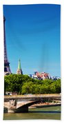 Eiffel Tower And Bridge On Seine River In Paris France Bath Towel