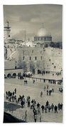 Elevated View Of The Western Wall Bath Towel