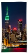 Empire State Building On Saint Patrick's Day Bath Towel by Mihai Andritoiu