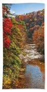 Fall Along The Linville River Bath Towel