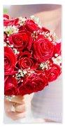 Floral Rose Boquet Held By Bride Bath Towel