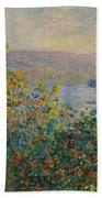 Flower Beds At Vetheuil Bath Towel