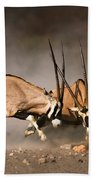 Gemsbok Fight Bath Towel