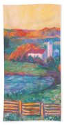Golden Farm Scene Bath Towel