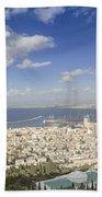 Haifa Bay Panorama Bath Towel