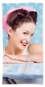 Happy 60s Pinup Housewife On Blue Ironing Board Bath Towel