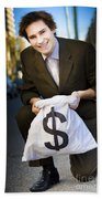 Happy Business Man Smiling With Money Bag Bath Towel