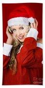 Happy Dj Christmas Girl Listening To Xmas Music Bath Towel