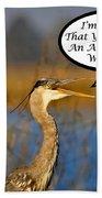 Happy Heron Anniversary Card Bath Towel
