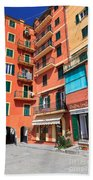 homes and promenade in Camogli Bath Towel