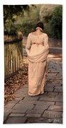 Lady In Regency Dress Walking Bath Towel