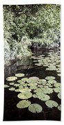 Lily Pads On Dark Water Bath Towel