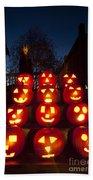 Lit Pumpkins With Demon On Halloween Bath Towel