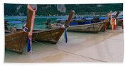 Longtail Boats Moored On The Beach Hand Towel