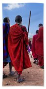 Maasai Men In Their Ritual Dance In Their Village In Tanzania Bath Towel
