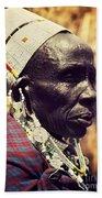 Maasai Old Woman Portrait In Tanzania Bath Towel