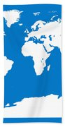 Map In Blue And White Bath Towel