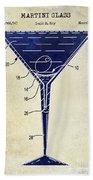 Martini Glass Patent Drawing Two Tone  Bath Towel