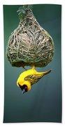 Masked Weaver At Nest Bath Towel