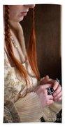Medieval Tudor Woman With Red Hair  Bath Towel