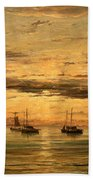 Mesdag's Sunset At Scheveningen -- A Fleet Of Shipping Vessels At Anchor Bath Towel