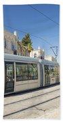 Modern Tram In Central Jerusalem Israel Bath Towel