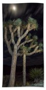 Moon Over Joshua - Joshua Tree National Park In California Bath Towel
