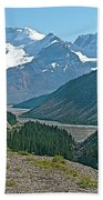 Mountain Peaks From Icefields Parkway-alberta Bath Towel