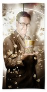 Movie Man Holding Cinema Popcorn Bucket At Film Bath Towel