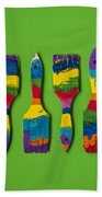 Multicolored Paint Brushes On Green Background Bath Towel