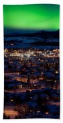 Northern Lights Over Whitehorse Bath Towel