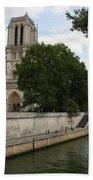 Notre Dame Along The Seine Bath Towel