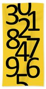 Numbers In Black And Yellow Bath Towel