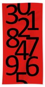 Numbers In Red And Black Bath Towel
