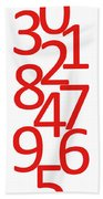 Numbers In Red And White Bath Towel