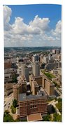 Oakland Pitt Campus With City Of Pittsburgh In The Distance Bath Towel