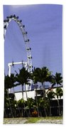 Oil Painting - Preparation Of Formula One Race With Singapore Flyer And Marina Bay Sands Bath Towel