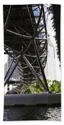 Oil Painting - View Under The Bayfront Bridge And Helix Bridge In Singapore Bath Towel