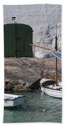 Typical Mediterranean Fishermen Boat And House In Minorca Island - Old Fishermen Villa Bath Towel