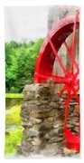Old Grist Mill Vermont Red Water Wheel Bath Towel