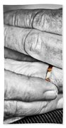 Old Hands With Wedding Band Bath Towel